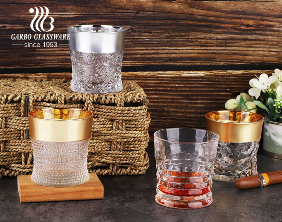 11oz classic engraved glass cup with custom electroplated gold or silver