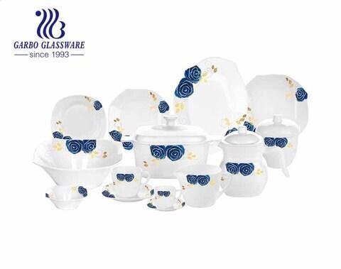 58 قطعة تصميم جديد أزرق مائي مقاوم للحرارة أوبال وير طقم عشاء زجاجي مربع الشكل مع وعاء أكواب صحن