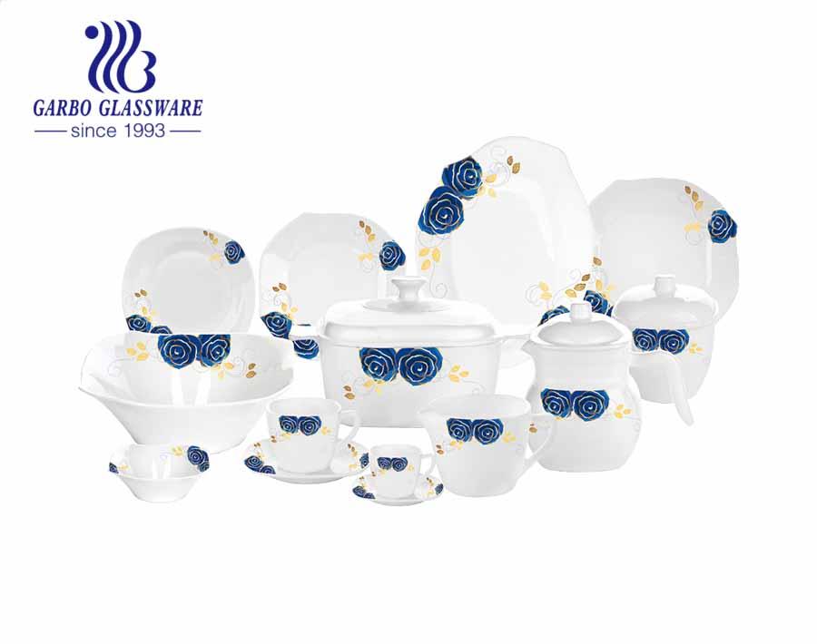 58 cái thiết kế mới decal màu xanh lam chịu nhiệt Đồ sứ opal hình vuông thủy tinh bộ ăn tối với đĩa bát cốc cốc nồi