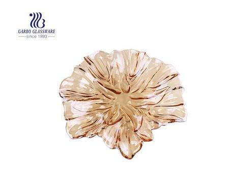14-Zoll-große Mode Lilie gravierte Design Glas Obstteller mit Goldfarbe Ionenbeschichtung