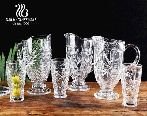Serie de fuegos artificiales clásicos de color blanco alto Juego de jarras para beber de agua de vidrio de 7 piezas Juego de jarras de vidrio vintage con patrón grabado de fábrica