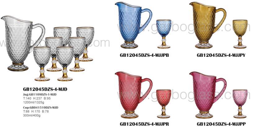 Set mit 7-teiligen Farbglaskrügen, Set mit Goldrand und Sprühfarben