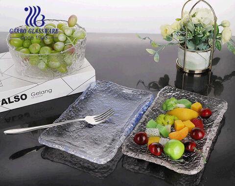 Rectangular shape handmade thick textured glass side plate for tabletop wedding restaurant
