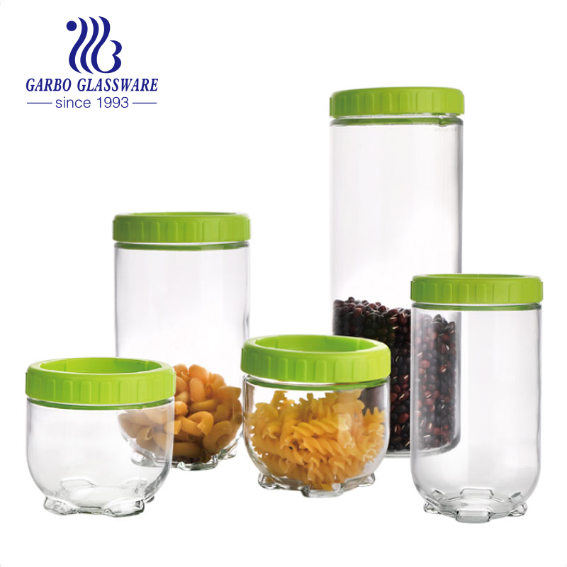 Glass storage jars set of 5 spice cookie pasta jar set kitchen canister sets450ml 950ml 1300ml with screw lid