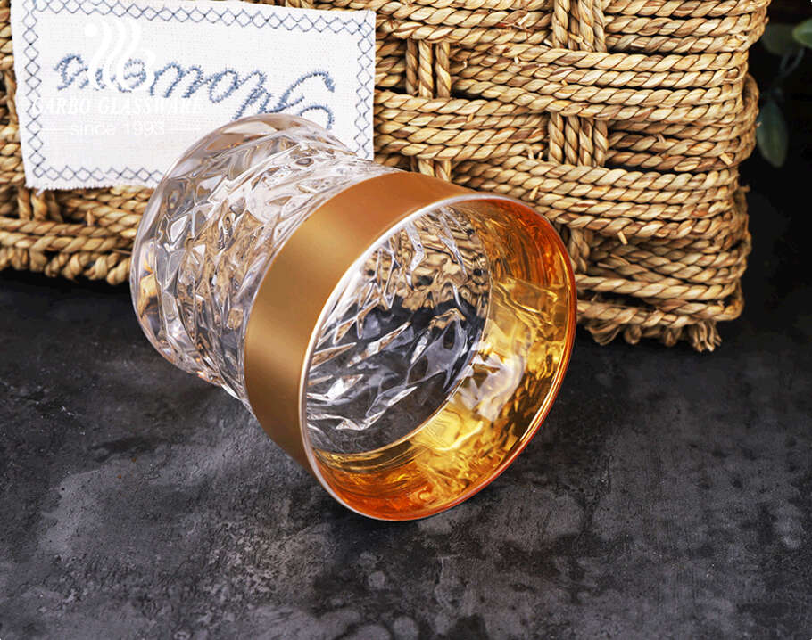 Arabic style unfading electroplated color gold and silver engraved 11oz glass tea cup