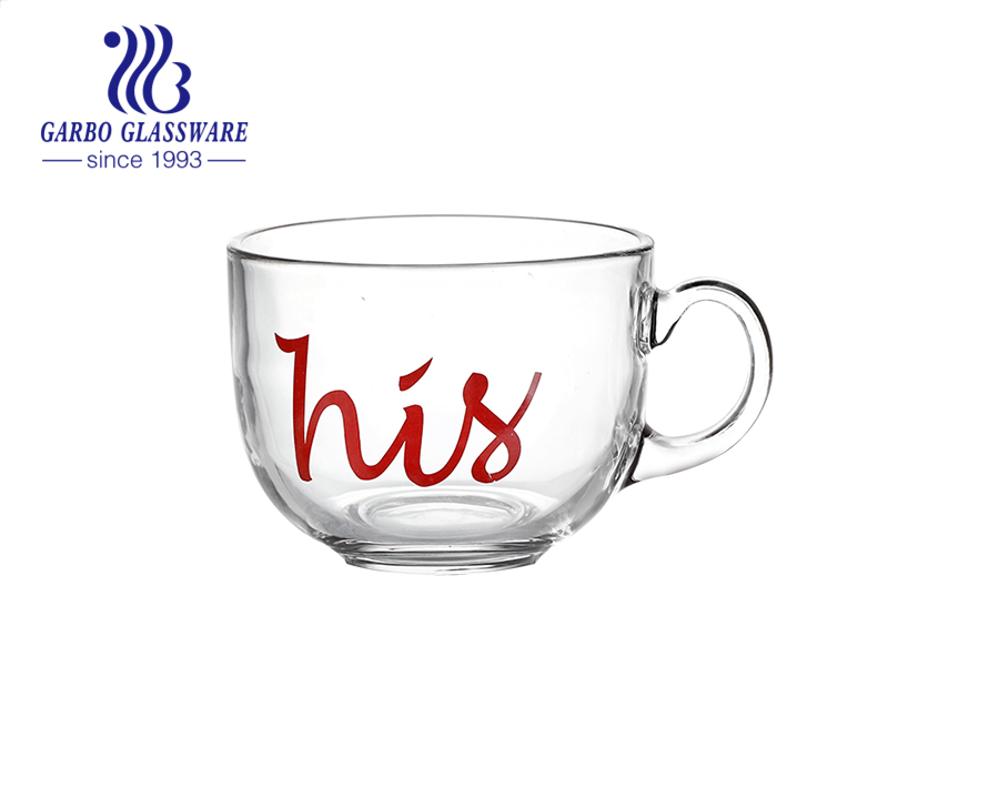 New couple decal designs hot selling big mouth glass mugs glass coffee milk cups with handles good as gifts