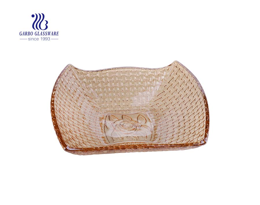 Large amber square-shape weaving glass fruit bowl for home decoration
