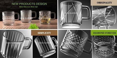3 neue Designs Kaffee Trinkglas Tassen
