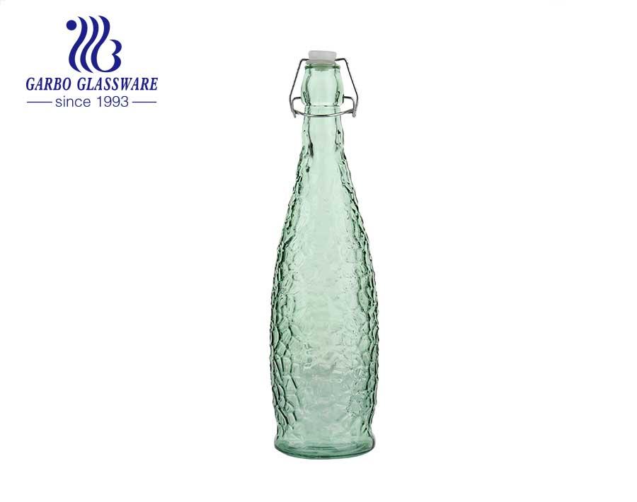 Chai bảo quản chai thủy tinh màu vàng hổ phách 33oz có nắp đậy kín nắp bật lên máy sản xuất bia nước trái cây thủy tinh trong suốt