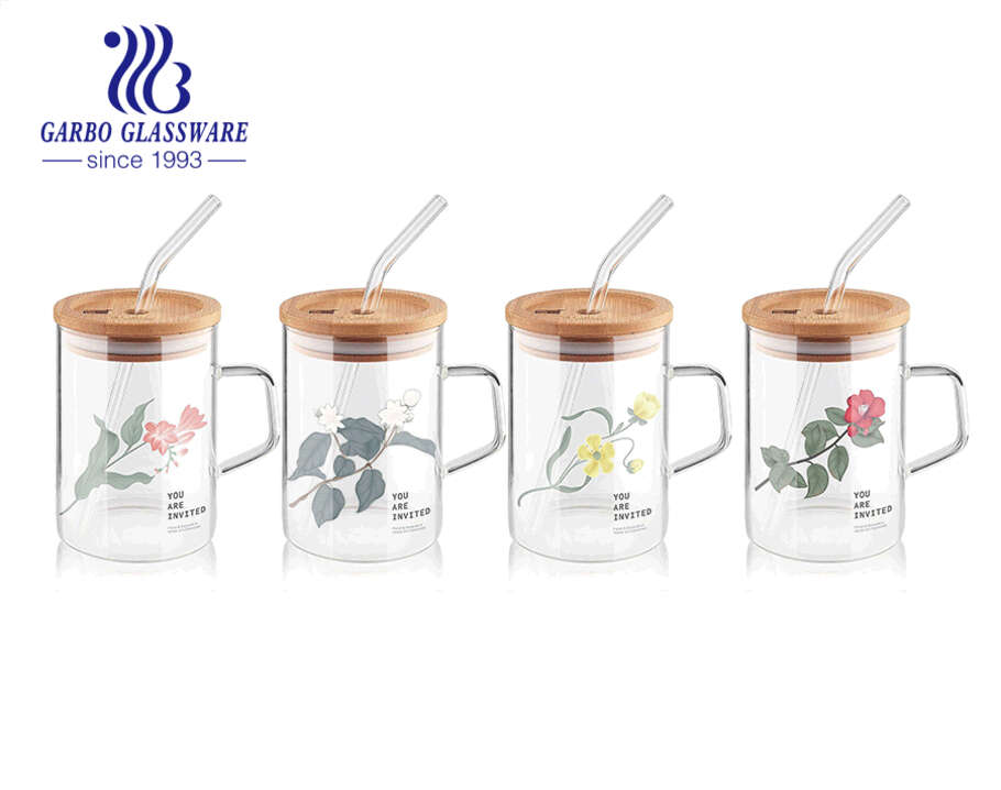 High borosilicate single wall glass cups with handles customized decal coffee tea cup with lid and straw