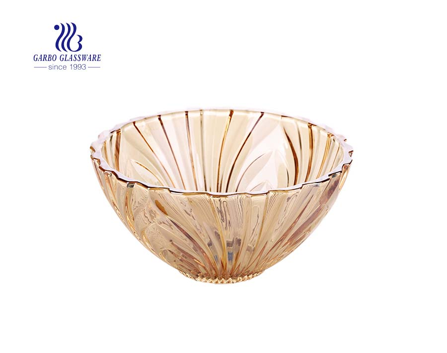 Classy 9.5 inches vertical design amber color glass fruit bowls for home table