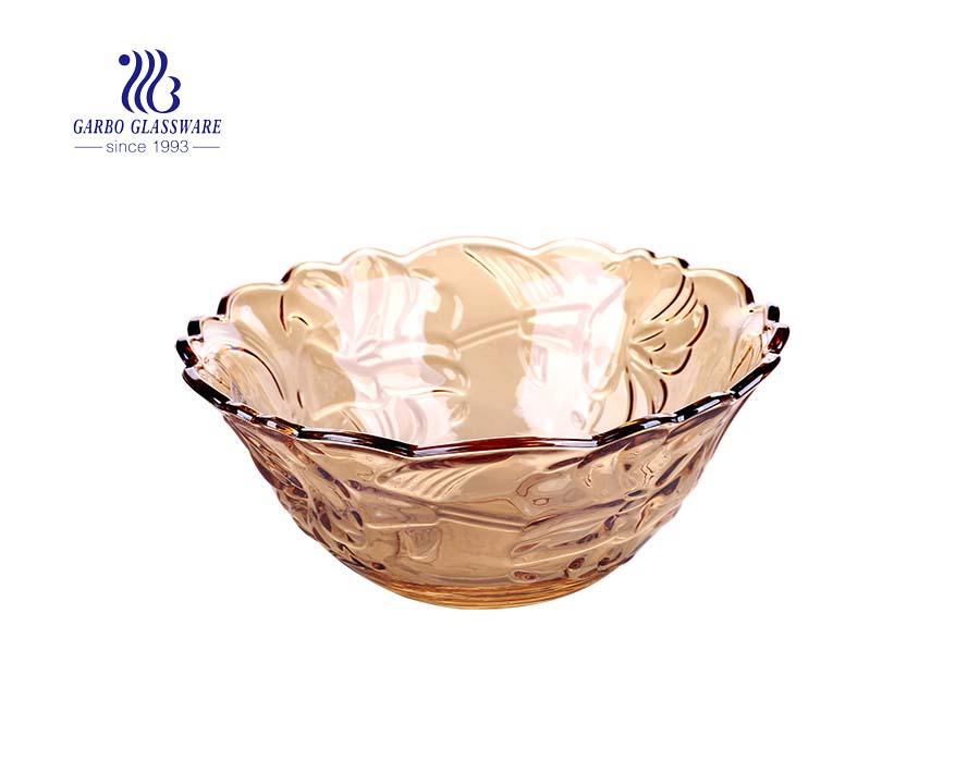 Thiết kế theo chiều dọc 9.5 inch sang trọng Bát trái cây thủy tinh màu hổ phách cho bàn ăn gia đình