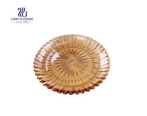 14.5 Zoll eleganter Ionenplattierung Sun Design Glas Obstteller mit brauner Farbe