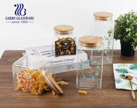 Kitchen Canisters High Borosilicate Glass Square Airtight Food Storage Jar for Tea Flour Candies Grain