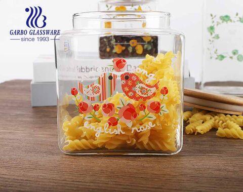 علب المطبخ عالية البورسليكات الزجاج مربع محكم تخزين الطعام جرة للشاي دقيق حلوى الحبوب
