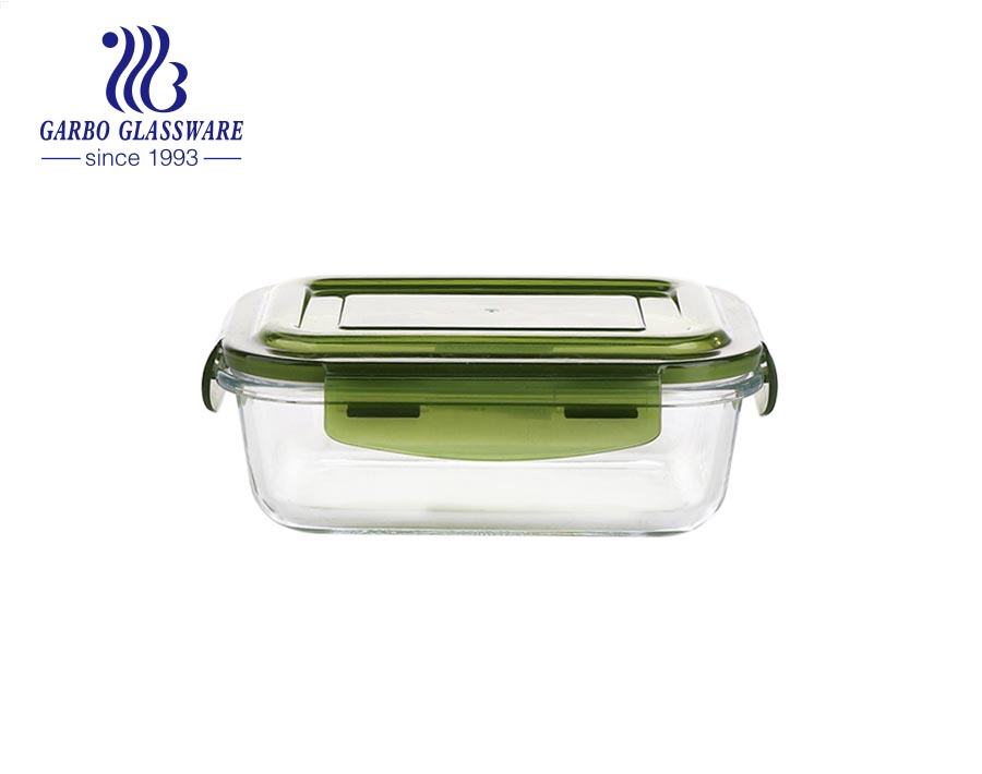 400ml lunch box Oven Safe food container borosilicate glass ovenware with pink silicone hole lids