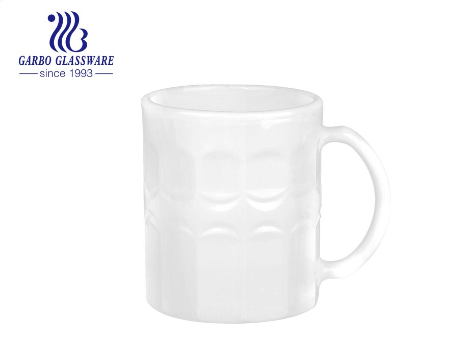 Garbo new design Personalized printing Milky White Opal Glass 11oz Glass Coffee Mug