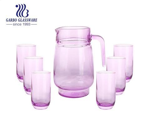Juego de jarra para beber de agua de vidrio de color rosa de 1400 uds hecha a máquina de 5ML con vasos de vidrio para uso doméstico