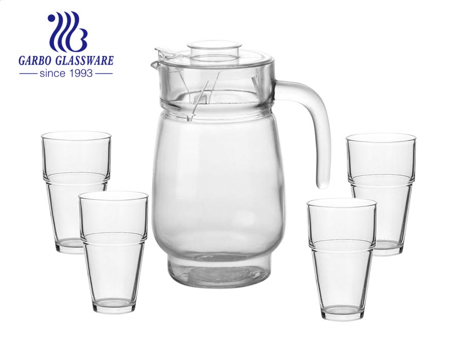 1400ML machine-made 5pcs pink spraying colored glass water drinking jug set with glass cups for home dinner use