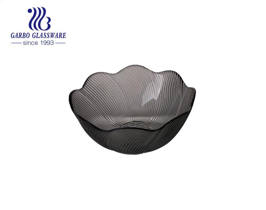 Factory modern style colored gray bloom lotus flower shape glass salad dessert fruit bowl for serving in hotel cafe