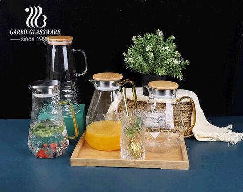 2100ml パイレックス 透明ガラス ウォーター ピッチャー 木製蓋付き アイスティー ピッチャー 注ぎ口付き