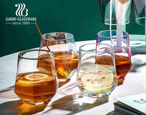Fünfeckiger Premium-Glasbecher mit lebensmittelechten Ionen-Galvanisierungsfarben