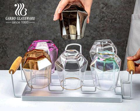 Premium pentagonal glass tumbler with food contact safe ion electroplating colours