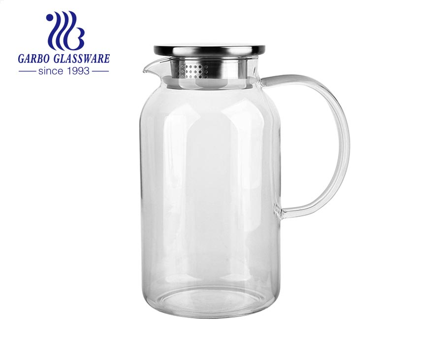 1.9 Liter Glass Pitcher with Lid Ice Tea Pitchers Glass Water Jug/Carafe with Handle for Hot/ Cold Tea Juice