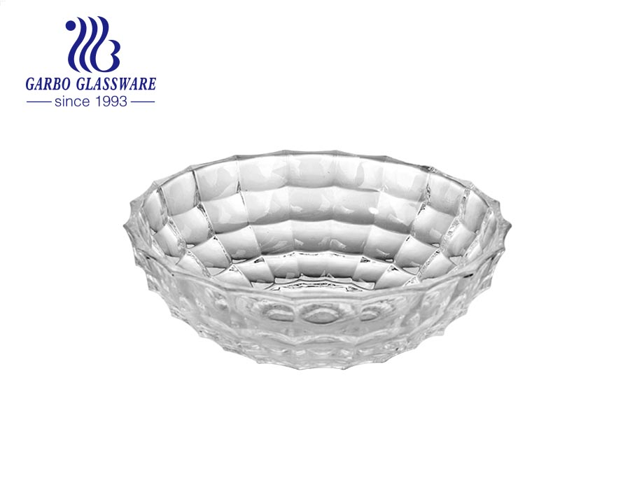 Garbo 11 inches carved diamond embossed thick-walled glass fruit bowl All-purpose