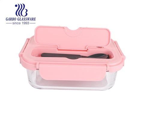 1040ml rechteckiger neuer Crisper aus Borosilikatglas mit Löffelgabel mit rosa Deckeln