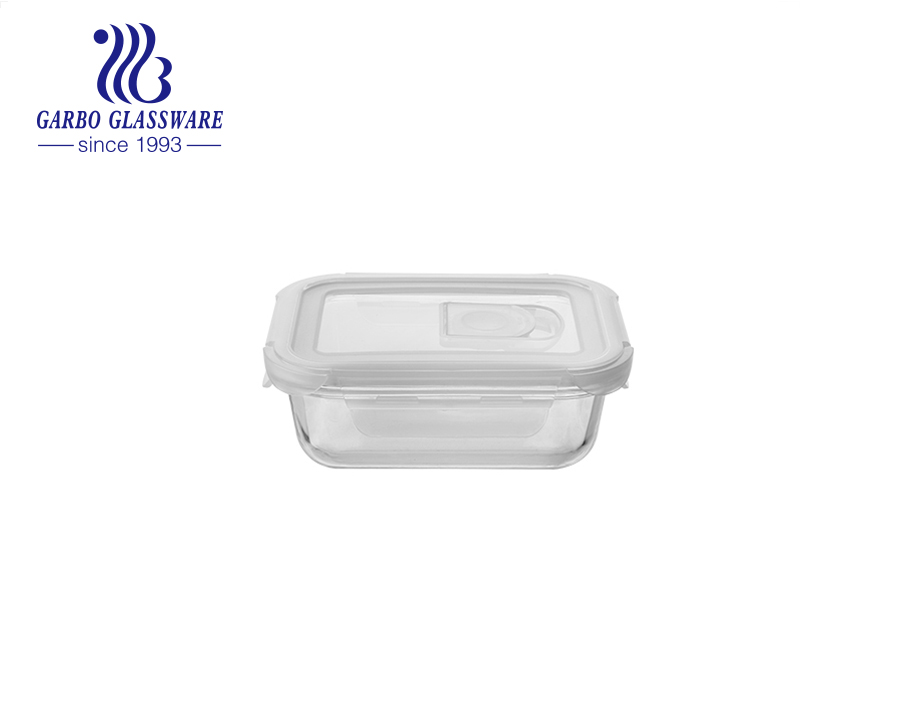 1040ml rectangular New high borosilicate glass crisper with spoon fork with pink lids