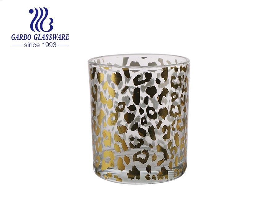 اللون الأزرق أسفل الزجاج حامل شمعة الشاي ضوء نذري مع زهرة شارات مخصصة