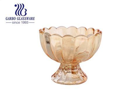 الاستخدام اليومي لوتس كهرمان صغير الحجم 4 أونصة كوب آيس كريم زجاجي أوعية صنداي كوب زجاجي بقاعدة ثقيلة