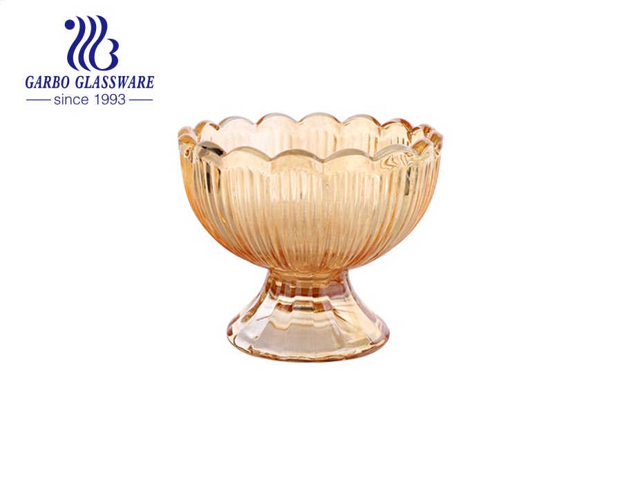 Daily use lotus Amber mini size 4oz Glass Ice Cream Cup Sundae Bowls Glass cup with heavy footed base