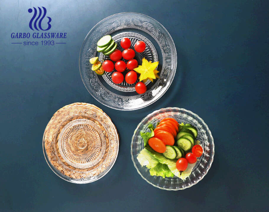 9 inch vintage glass fruit plate wholesale clear with elegant design