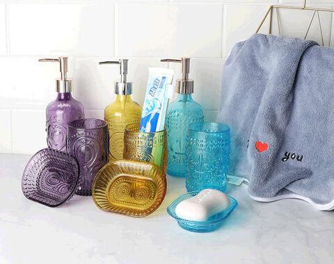 Großhandel sprühen farbiges tiffany blaues Glas Badezimmerzubehör Set Glas Flüssigseifenspender Set