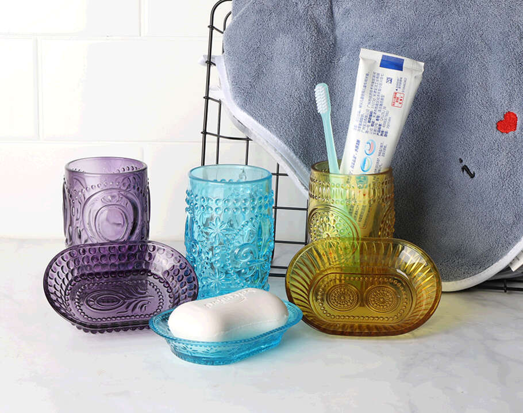 Wholesale spraying colored tiffany blue glass bathroom accessories set glass liquid soap dispenser set