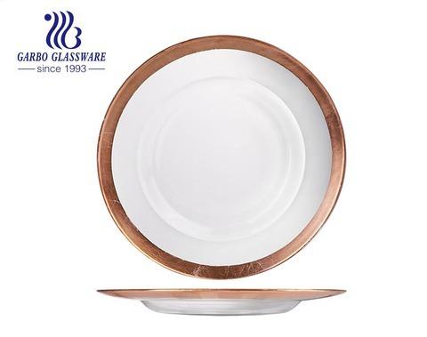 Eleganter 12.5-Zoll-Tischaufsatz golden verzierter handgefertigter Glas-Obstteller für zu Hause