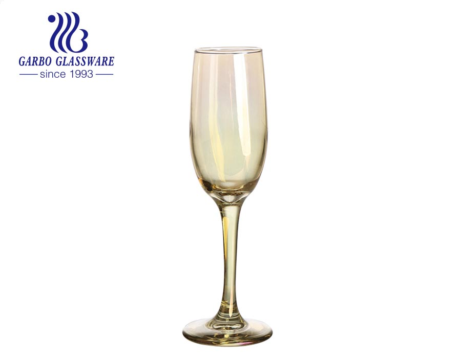 Champagne Flutes Glasses 6.5oz Ion Plating Color Champagne Glasses with Elegant Gift Box