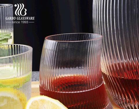 Garbo handmade stripe pattern wine decanter set crooked shape glass vase