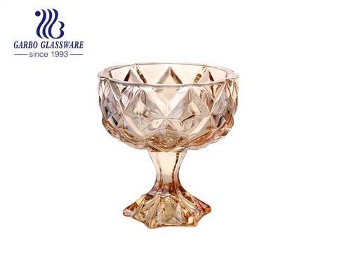 Eisbecher im Luxus-Stil 260ml Glasbecher mit stabilem Boden mit Rautenprägung Obstschale Dessertbecher