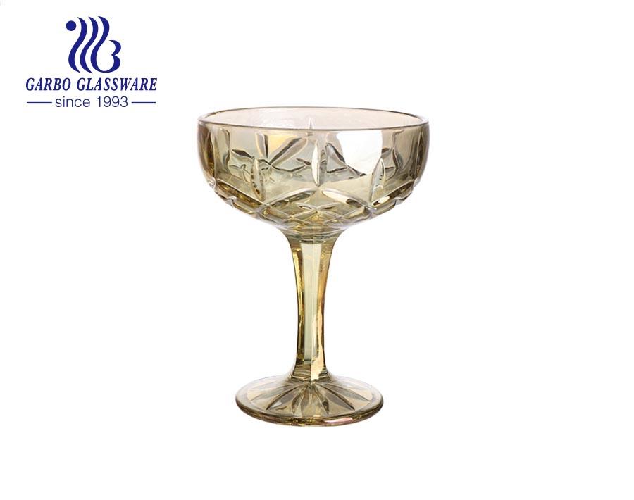 وعاء آيس كريم بطراز فاخر 260 مل كوب زجاجي مع قاعدة ثابتة ثابتة على شكل ماس مزخرف بوعاء فاكهة