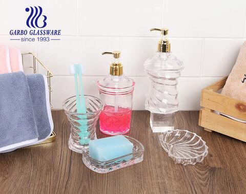 Hotel 3 tlg. transparentes individuelles Design Glas Badezimmerzubehör Set Spender Tasse Seifenschale für Küche