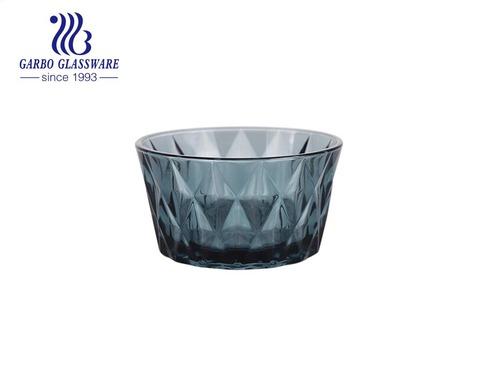 Großhandel einzigartige graue blaue einfarbige Diamant-Design-Glas-Dessert-Salatschüssel für den Esstisch