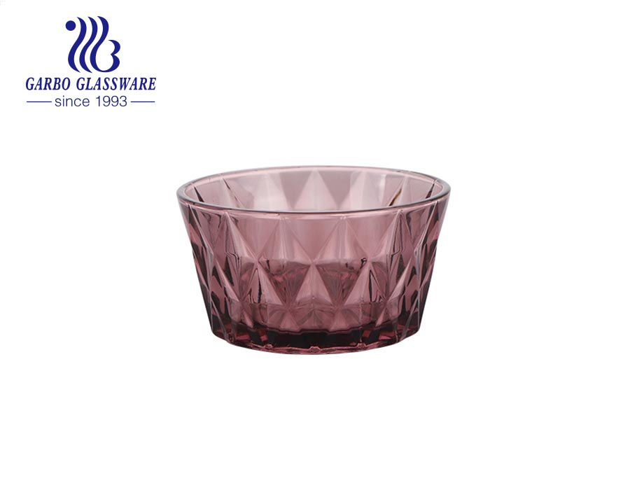 Wholesale unique gray blue solid colored diamond design glass dessert salad bowl for dinner table