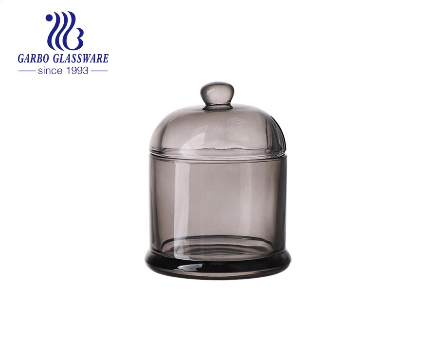 Spray Purple Colored Transparent Glass Containers Glass Candy Jar with Lid Household Storage Tank