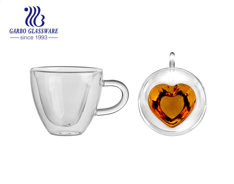 Heart Shaped Double Walled Insulated Glass Coffee Mugs or Tea Cups Double Wall Glass with Handle