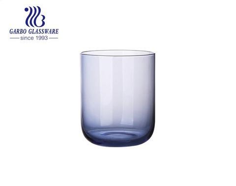 15oz chất lượng cao thổi cốc thủy tinh rắn màu xanh lam để uống nước