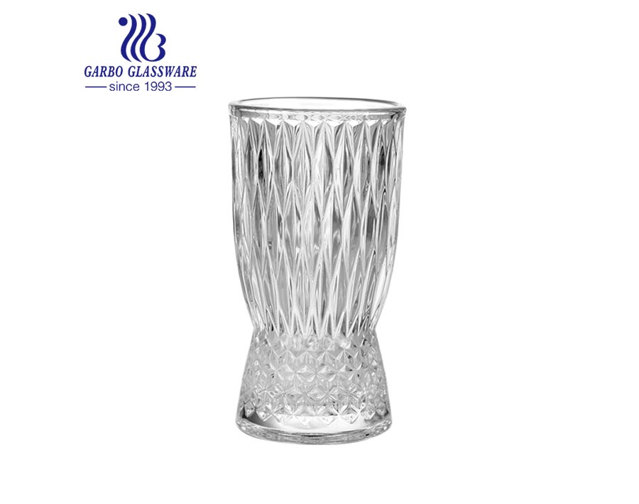 Retro tabletop Square Shaped Style Glass Vase Holder Glass bottle Beautiful Clear glass cup