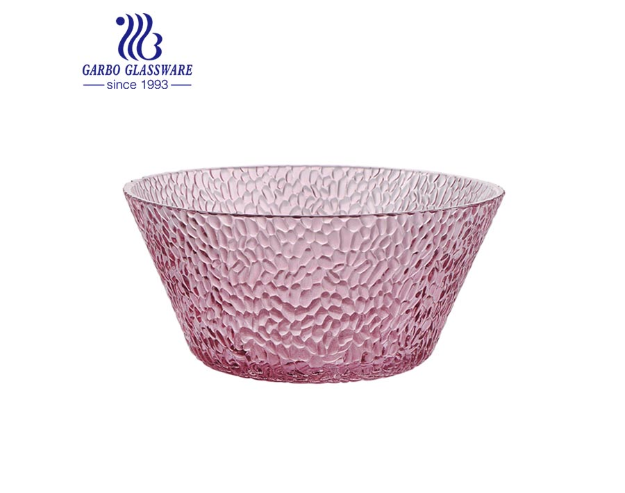 1400ML wholesale cheap machine-made pink spraying colored transparent glass salad bowl with customized design